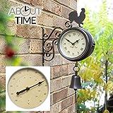 ber Zeit Halterung montiert Hahn und Glocke Garten Outdoor Uhr und Thermometer47cm (18 in)