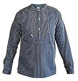 modAS Fischerhemd breiter Streifen 1000-10-066 für Herren und Damen- Gr. 66, Blau/Weiß