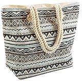 AIREE FAIREE Strandtasche Damen 47 x 35 x 15cms Large Sommer Leinentragetaschen Seil Aztec Muster...