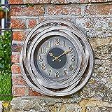 Outdoor Wanduhr Groe zeitgenssische Gartendekoration Metall Bronze Effekt 50cm