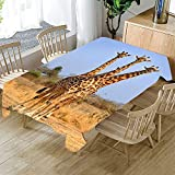 HACLJPP Rechteckig Tischdecke Abwaschbar, 3D Abwaschbar Tischdecken, Giraffe, Wachstuch Tischtuch,...