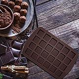 Ploufer 24 Grid Schokoladenform Quadratische Silikonform, Backform Antihaft-Bonbon- und Gummiform...