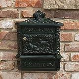 Antikas - Briefkasten Postillon Wandbriefkasten, grn rostfrei Alu, mit Zeitungsfach