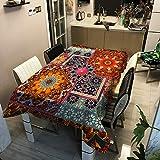 ZHAOXIANGXIANG Rechteckige Tischdecke,Rechteckige Tischdecke Indischen Mandala Blumen Muster Drucken...