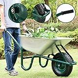 Juskys Schubkarre Garden | 100 Liter Volumen | 250 kg | Luftreifen mit Metall Felge | Wanne verzinkt...