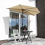 Sekey 2.7m halb-runder Sonnenschirm/Marktschirm/Terrassen-Schirm mit Kurbel für Garten, Terrassen,...
