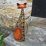 """Metallskulptur """"sitzende Katze"""" / Statue / Figur / Ornament–Bronze & goldene..."""