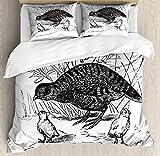 SUPERQIAO Vogel-Bettbezug-Set, einfarbige Skizze in Vintage gravierten Stil Perdix und Babys neben...