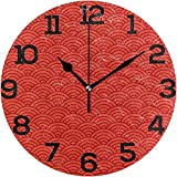 Wanduhr Chinesisches Muster Rote Farbe Runde Acryluhr Silent Non-Ticking Clock