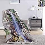 Fleece Blanket Wasserfall Komfortable, Große, Offene Fenster Sehen Eine Kleine Wasserkaskade, Die...