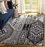 Luxury Linen Collection Teppich im traditionellen Südwester-Design, 152 x 183 cm, Grau/Schwarz