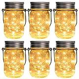 GIGALUMI Solar Mason Jar Licht 6 Pack 15 LED Wasserdicht Solar Glas Einmachglas warmwei Garten...