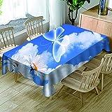 HACLJPP Rechteckig Tischdecke Abwaschbar, 3D Abwaschbar Tischdecken, Schmetterlingsmuster Himmel,...