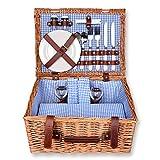Schramm Picknickkorb 40x30x20cm rechteckig aus Weidenholz fr 2 Personen Picknickkoffer Picknickset...