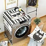 QUROENS Kühlschrank Staubschutz Küche Dekor,Cat Line Print Universal Sonnenschutz Abdeckung Mit...