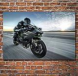 DPFRY Leinwandbilder Wandkunst Bild Superbike Kawasaki Ninja Motorrad Poster Drucken Leinwand...