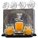 Krown Kitchen - Whisky Karaffe Set. Enthält Whiskey-Gläser, Untersetzer und Holzplatte. Perfekte...