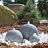 CLGarden Granit Springbrunnen SB1 3 teiliger Kugel Brunen Granitbrunnen Komplett Set Garten...