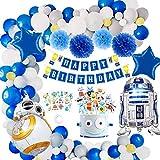 Yansion MMTX Roboter Geburtstagsdeko Dekorationen Junge, Blau Geburtstag Happy Birthday Girlande mit...