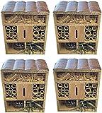 Quickdraw 4 X Holz Biene Schmetterling & Insekt Hotel Quadrat Schutz Garten Nestbau Lebensraum Box