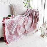 N/A MYBH Home Decoration Nordic Einfache Freizeit Rot Plaid Sofadecke Klimaanlage Decke Rot 130 *...