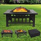 femor Feuerstelle mit Grillrost 81x81x45cm, Multifunktional Fire Pit fr Heizung/BBQ, Garten Terrasse...