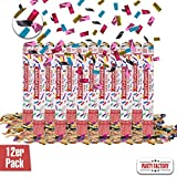 Party Factory 12er Set Party Popper, 40 cm, Buntes Konfetti, bis 8 m Effekthöhe, Konfettiregen für...