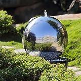Khko 40 cm Kugelbrunnen Hochglanz poliert 21004 aus Edelstahl mit LED-Beleuchtung