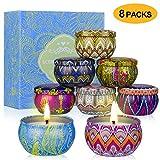 SUPERSUN 8 Stück Duftkerze Geschenke für Frauen, Vanille, Lavendel, Rosa, Sojawachs Duftkerzen Set...
