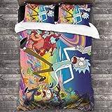 Yellowbiubiubiu Rick Morty 3-teiliges Bettwäsche-Set, Bettbezug und Kissenbezug, mit 1 Steppdecke,...